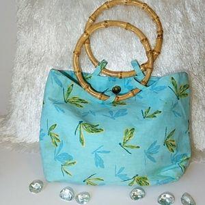Handbags - EUC Dragonfly Bamboo Handle Fabric  Tote Bag